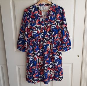 J Crew Blue Pink Floral Lace Up Dress Size Small